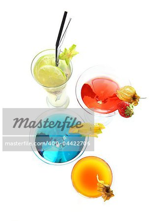 Different cocktails or longdrinks garnished with fruits Stock Photo - Budget Royalty-Free, Image code: 400-04422706
