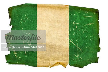 Nigeria Flag old, isolated on white background. Stock Photo - Budget Royalty-Free, Image code: 400-04422850
