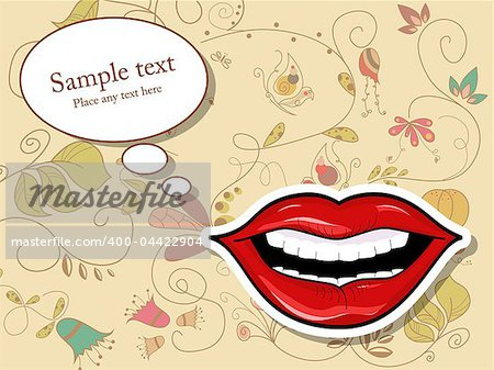 Vector picture with lips and speech bubbles
