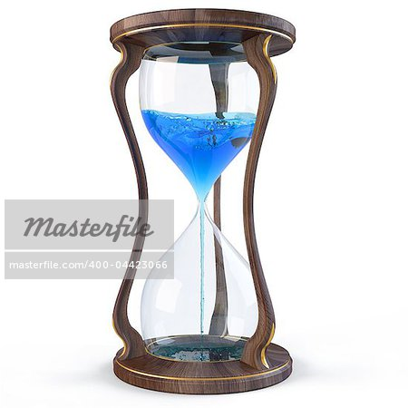 wooden hourglass with a blue liquid flowing down. isolated on white. Stock Photo - Budget Royalty-Free, Image code: 400-04423066