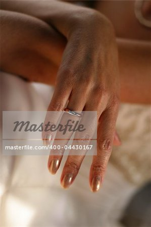 Hand of the bride in a wedding ring Stock Photo - Budget Royalty-Free, Image code: 400-04430167