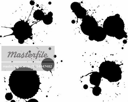 4 Black Splats in seperate layers.  Background is transparent so they can be overlayed on other Illustrations or Images.