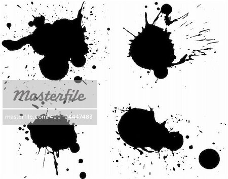 4 Black Splats - Background is transparent so they can be overlayed on other Illustrations or Images.