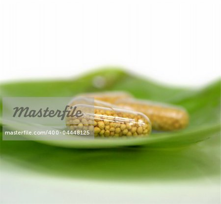 Some yellow pills on a green leaf - homeopathy Stock Photo - Budget Royalty-Free, Image code: 400-04448125