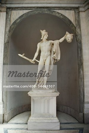 Sculpture of Perseus holding  head of the Gorgon Medusa in Vatican Museum in Rome Italy. Stock Photo - Budget Royalty-Free, Image code: 400-04449307