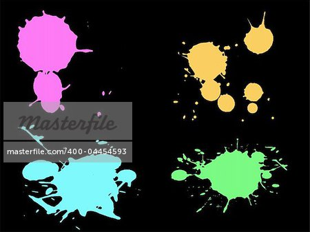 4 Hi colour Neon Splats with low Poly Count (Isolated Vectors and on separate layers)  Can be overlayed on other Illustrations or Images.
