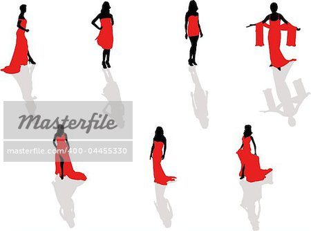 lady in the red dress silhouettes