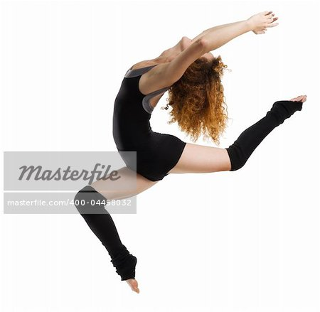 a modern dancer with black dress jumping Stock Photo - Budget Royalty-Free, Image code: 400-04458032