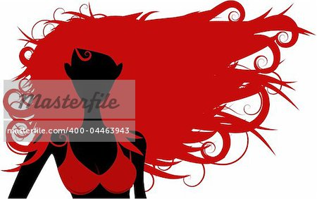 Vector - Girl in bikini posing with wind blowing in her hair, copy space to insert your text.