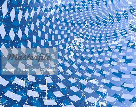 Abstract editable vector background of blue diamond shapes with grunge on a separate layer