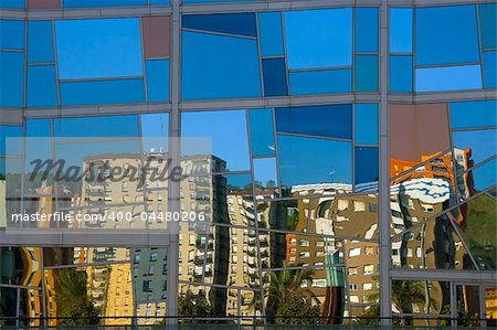 Quarter Deusto reflected in the palace euskalduna, Bilbao Stock Photo - Budget Royalty-Free, Image code: 400-04480206