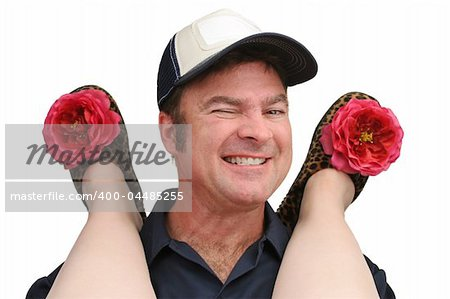 A repairman giving a wink as he provides service to a woman wearing bedroom slippers. Stock Photo - Budget Royalty-Free, Image code: 400-04485255