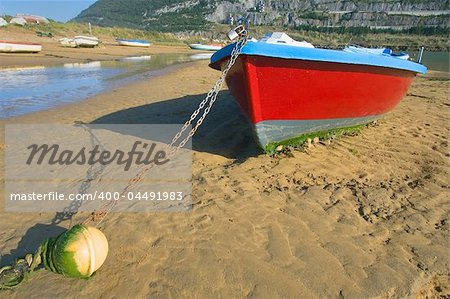 Boats Moored At The Beach Islares, Cantabria, Spain Stock Photo - Budget Royalty-Free, Image code: 400-04491983