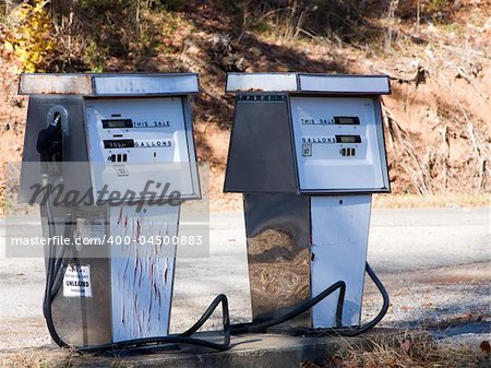 Two old gas pumps Stock Photo - Budget Royalty-Free, Image code: 400-04500883