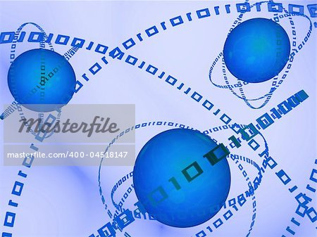 3d rendered illustration of blue balls and binary rings