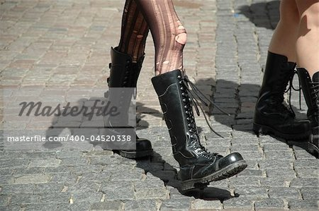 Girls walking in boots Stock Photo - Budget Royalty-Free, Image code: 400-04520338