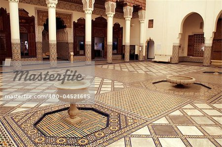 Rich decorated interior of Marrakech museum, Morocco Stock Photo - Budget Royalty-Free, Image code: 400-04521685