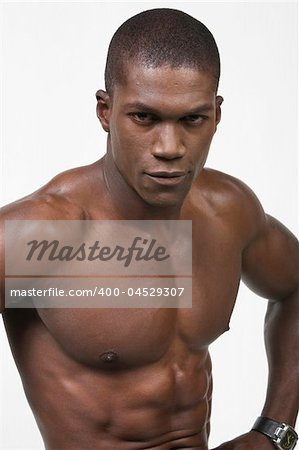 African American Athlete shows some muscle Stock Photo - Budget Royalty-Free, Image code: 400-04529307