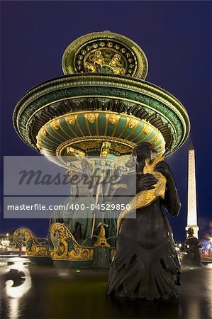 Source of the Place of Concorde at night, Paris (France) Stock Photo - Budget Royalty-Free, Image code: 400-04529850