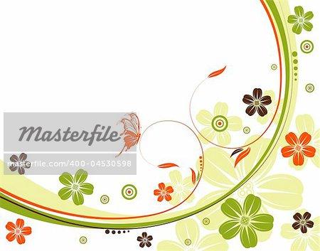 Flower background with wave pattern, element for design, vector illustration