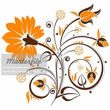 Floral background with bud, element for design, vector illustration