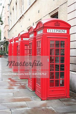 A photography of five old red phone boxes in London Stock Photo - Budget Royalty-Free, Image code: 400-04535752