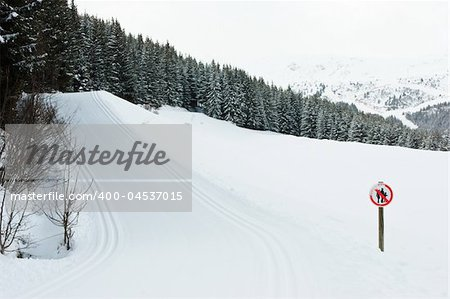 Freshly groomed empty cross-country ski track at French Alps Stock Photo - Budget Royalty-Free, Image code: 400-04537015