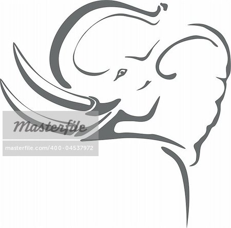 Gray elephant with big tusks on tribal tattoo Stock Photo - Budget Royalty-Free, Image code: 400-04537972