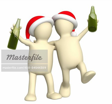 Puppets - friends celebrating Christmas Stock Photo - Budget Royalty-Free, Image code: 400-04544309