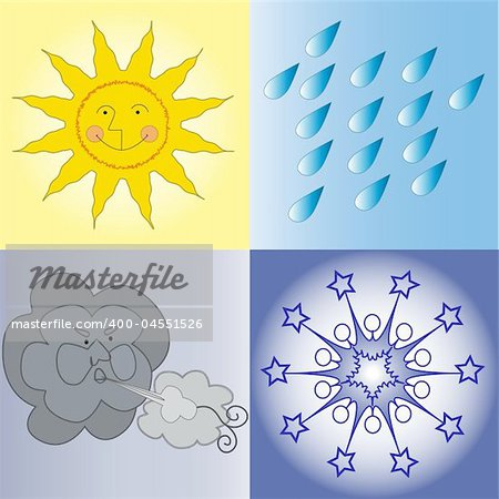 Four weather conditions icon: sunny, rainy, windy, wintry Stock Photo - Budget Royalty-Free, Image code: 400-04551526