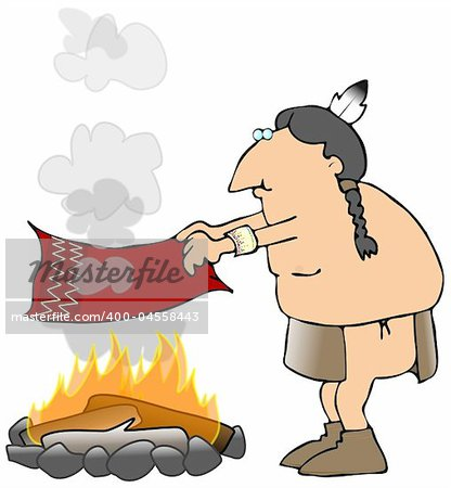 This illustration depicts an American Indian sending smoke signals from a campfire. Stock Photo - Budget Royalty-Free, Image code: 400-04558443
