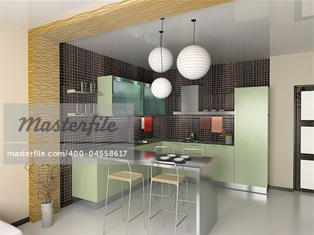 Kitchen Design on The Modern Kitchen Interior Design  3d Rendering  Stock Photo