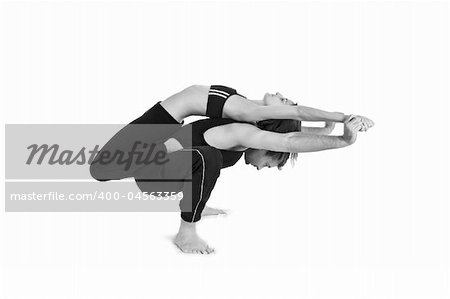 Male and female gymnasts practicing a complex double yoga pose. Stock Photo - Budget Royalty-Free, Image code: 400-04563359