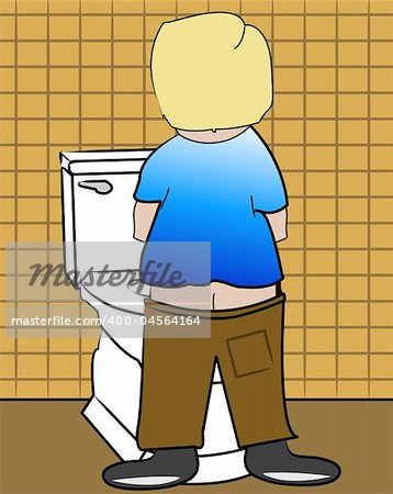 young blond boy peeing on the toilet - Stock Photo - Budget Royalty-Free, Image code: 400-04564164