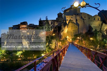 Dusk in the city of Cuenca (Spain) Stock Photo - Budget Royalty-Free, Image code: 400-04567958