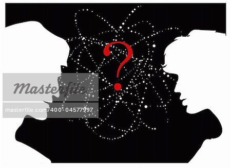 A vector silhouettes of two people looking for answers Stock Photo - Budget Royalty-Free, Image code: 400-04577997