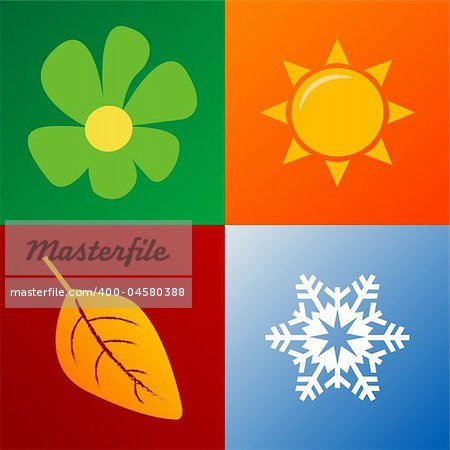 four seasons background fully editable vector illustration Stock Photo - Budget Royalty-Free, Image code: 400-04580388