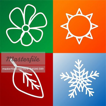 four seasons background fully editable vector illustration Stock Photo - Budget Royalty-Free, Image code: 400-04580389