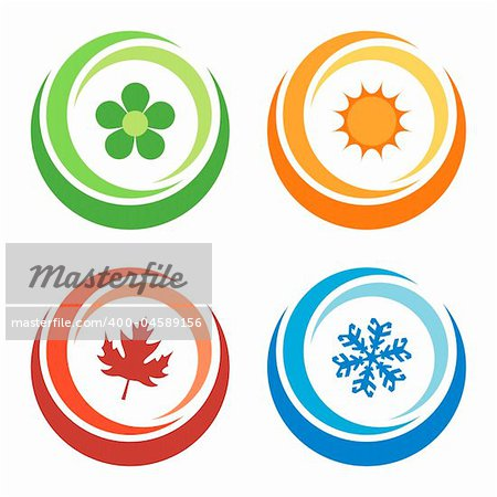 four seasons symbols concept Stock Photo - Budget Royalty-Free, Image code: 400-04589156