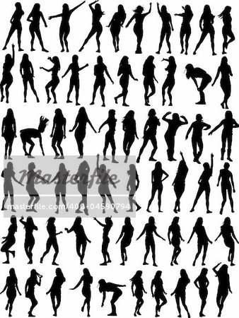 Big collection of Dancing woman. Sixty vector silhouettes