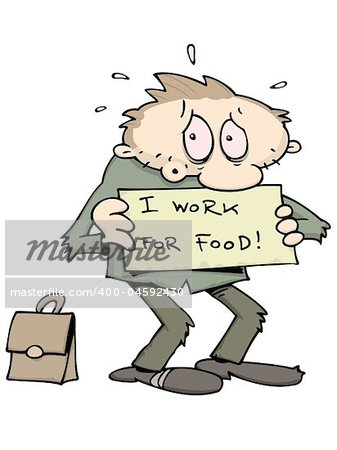 "Stressed and jobless caucasian man holding a sign reading ""I Work For Food"" with his briefcase behind him, looking for work. This is a RGB vector image. There is a separate layer with white outlines for designs with dark background. The text is also on a separate layer and can easily be replaced with own message. Stock Photo - Budget Royalty-Free, Image code: 400-04592430"