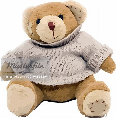Vector teddy bear sitting on the white background
