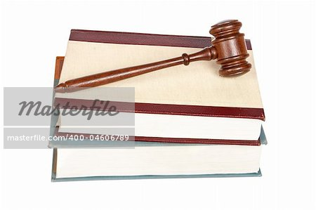 Wooden gavel from the court and law books isolated on white background. Shallow depth of field Stock Photo - Budget Royalty-Free, Image code: 400-04606789