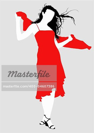 Vector drawing girl in red dress, silhouette against a white background. Saved in eps format for illustrator 8.