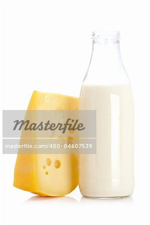 Slice of fresh cheese and milk bottle isolated on white background Stock Photo - Budget Royalty-Free, Image code: 400-04607539