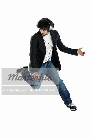 Young modern man jumping over a white background Stock Photo - Budget Royalty-Free, Image code: 400-04607640
