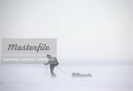 A single person on a winter expedition in a snow storm Stock Photo - Budget Royalty-Free, Image code: 400-04610554