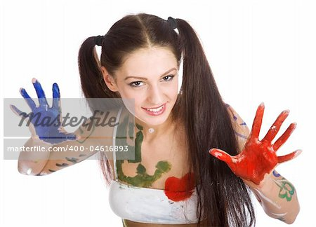 Beautiful girl, stained paint on a white background Stock Photo - Budget Royalty-Free, Image code: 400-04616893