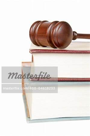 Wooden gavel from the court and law books isolated on white background. Shallow depth of field Stock Photo - Budget Royalty-Free, Image code: 400-04618233