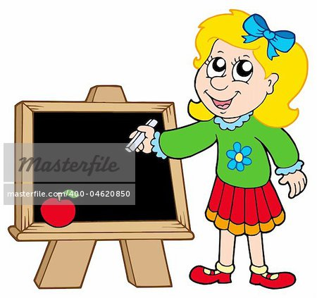 School girl writing on blackboard - vector illustration.
